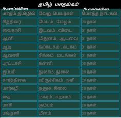 months of tamil