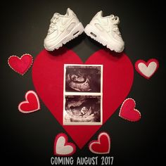 Valentine's Day pregnancy announcement Roses are red...Valentine's are sweet...Our family is growing, by one heart & two feet! #pregnant #pregnancyannouncement #pregnancyreveal #babyreveal