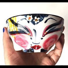 My newest art piece, and a new fav!!  The Spring Geisha!!!!  ❤🌺🌸🌼🌊 Decorative Porcelain Art Bowl, hand-painted.