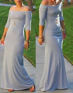 Chic Off-The-Shoulder 3/4 Sleeve Pure Color Maxi Dress