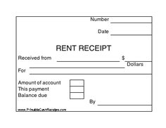 A set of four identical rent receipts, with room to note whether there is still a balance due to the landlord or property owner. Free to download and print