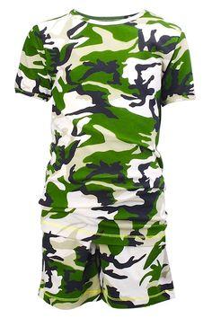 Claesen's pyjama shortama voor jongens Army Green