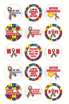 INSTANT DOWNLOAD - Autism Awareness Bottle Cap Images - 4x6 Digital Sheet - 1 Inch Circles for Bottlecaps, Hair Bow Centers, & More $1.25