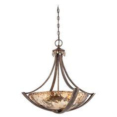 La Bohem - Pendant - ThreeLight Pendant in Monarch Bronze Finish with Rustic Amber Drip Glass