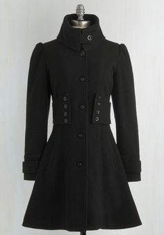 The Importance of Being Onyx Coat - Solid, Buttons, Long Sleeve, Black, Work, Casual, French / Victorian, Winter, Military, Black, 3, Long