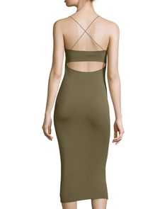 T by Alexander Wang Strappy Cutout Midi Dress, Army