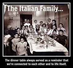 Italian Family, this is very true, especially on my in-law side if the family. They are lots of people,