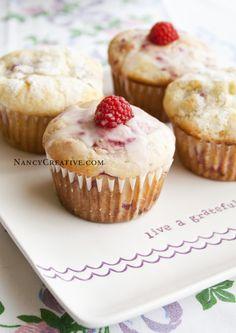 Lemon raspberry muffins sugar crusted or glazed