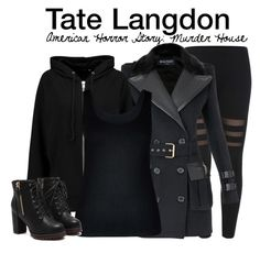 """""""Tate Langdon - American Horror Story: Murder House"""" by nerd-ville ❤ liked on Polyvore featuring Balmain, BLK DNM, City Chic, americanhorrorstory and ahs"""