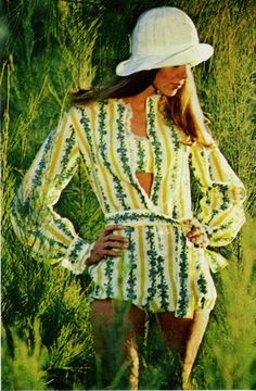 "June 1969. ""Wallpaper print stripes a softly bloused romper, sashed at the waist and frilled with lace."""