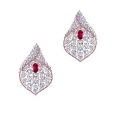 Ruby and Diamond Baby Calla Lily Earrings; set with natural no-heat Burmese rubies, pear and marquise diamonds, total 25 carats - By Forms Jewellery