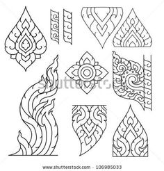Thai basic ornament vector can be apply for tattoo ,pattern or background