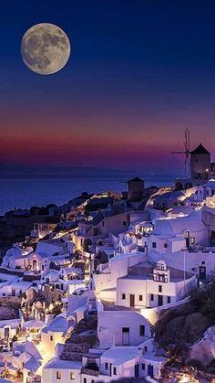 Greece Travel Inspiration - Beautiful full moon in Santorini, Greece. Places Around The World, Travel Around The World, The Places Youll Go, Places To Visit, Around The Worlds, Dream Vacations, Vacation Spots, Places To Travel, Travel Destinations