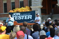 Jon Tester and Jeff Ament fire up a crowd of hundreds at the University of Montana