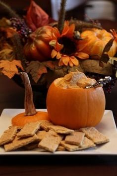 """Pumpkin Pie DIP - """"The serving bowl"""" is a great fall idea for any dip!!"""