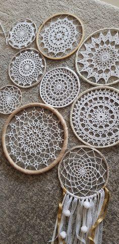 Crochet Fabric, Crochet Home, Crochet Doilies, Easy Crochet, Knit Crochet, Crochet Patterns, Dream Catcher Patterns, Crochet Decoration, Dream Catcher Boho