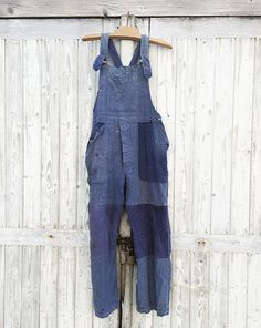 40s French Bleu DE Travail Overall Darned Patched Workwear Blue Indigo Moleskine | eBay