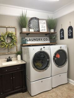 A Dream Laundry Room Makeover Laundry Room Remodel, Laundry Room Signs, Small Laundry Rooms, Laundry Room Organization, Laundry Area, Laundry Decor, Basement Laundry, Bathroom Signs, Shelves For Laundry Room