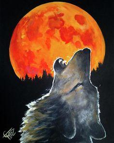 Blood Moon Wolf 16x20 Acrylic Painting.