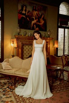 Classic A-line wedding dress EDIT with a square neckline and long train Square Wedding Dress, Luxury Wedding Dress, Classic Wedding Dress, Wedding White, Lace Wedding, Dream Wedding, Wedding Dress Necklines, Bridal Dresses, Classic Outfits