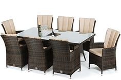 Maze Rattan LA 8 Seat Rectangular Dining Set with a Luxury 200cm x 100cm Inset Ice Bucket Table in a Mixed Brown Weave and Matching Parasol