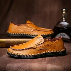 Amazon Summer Outdoor Handmade Men's Leather Shoes Walking Slip On Loafers Casual