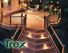 I would love to expand our deck out back. Ours is almost too small to even hold a patio set with umbrella, and seeing as we like to entertain, it would be nice to have more room on the deck. This picture is an example. Outdoor Deck Lighting, Outdoor Light Fixtures, Outdoor Decking, Stair Lighting, Trex Decking, Outdoor Stairs, Landscape Lighting, Deck Design, Home Design