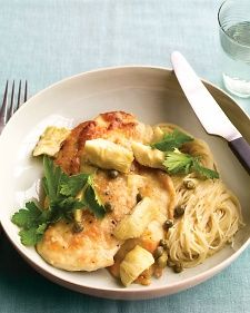 Chicken with artichokes and angel hair