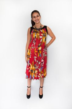 Red and Mustard Botanical Print on ITY Jersey Knit Swing Dress $47.99