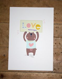 Love Bear A4 digital giclee print. £10.00, via Etsy.
