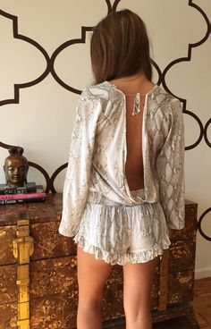 OPEN BACK ROMPER GREY PYTHON $98- CALL SPLASH TO ORDER 314-721-6442