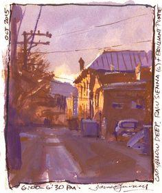 Alley in Salida, Colorado. Cad yellow deep, raw sienna, and purple.