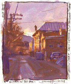 Alley in Salida, Colorado. Cad yellow deep, raw sienna, and purple.
