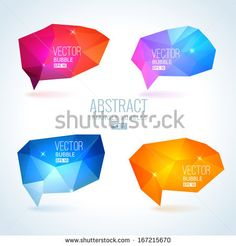 Set of abstract speech balloons or talk bubbles of crystal glass pattern. Good as label template for business advertising by Elena Kalistrat...