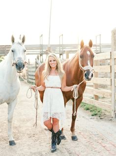I love this dress paired with the dark boots and the belt that matches one of the horses