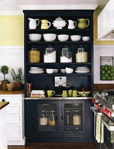 Built in kitchen storage.