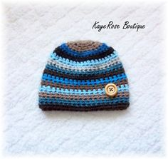 Newborn Baby Boy Striped Crochet Button Hat Blue by Sockmonkey7, $9.95