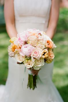 gorgeous pink peony and rose bouquet