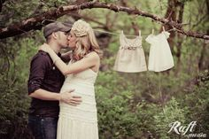 Baby Clothesline Kiss Maternity Photo (Raft Media)