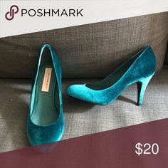 Size 8 teal velvet heels These are in like new condition; I've only worn them twice! They're 3.5 inch heels, which are just too much for me. American Rag Shoes Heels