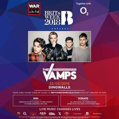 We'll be joining War Child UK and O2 at this year's BRITs Week! The Vamps, January 2018
