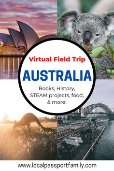 Join us as we go on a virtual tour of Australia for kids! WIth a picture book and artist, plus crafts and a treat, it's fun for the whole family! Australia Fun Facts, Australia For Kids, Australia Crafts, Virtual Travel, Virtual Tour, Steam Recipes, Virtual Field Trips, France, Craft Activities For Kids