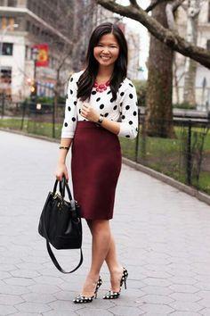 Polka dot sweater with maroon skirt Nyc Fashion, Work Fashion, Modest Fashion, Trendy Fashion, Autumn Fashion, Office Fashion, Casual Chic, Maroon Skirt, Burgundy Skirt