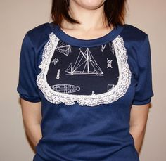 Navy Boats Bib Shirt w/Lace by SewOeno on Etsy