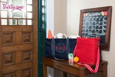 Get organized and take control! ;) If you're busy running around from one sports practice to another, the Large Utility Tote and Picnic Thermal Tote will make your life easier! Carry equipment, shoes, snacks, drinks and more!