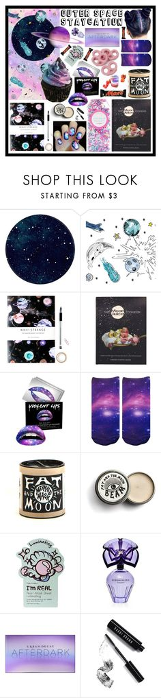"""""""Outer space Staycation!"""" by beanpod ❤ liked on Polyvore featuring Tempaper, Nikki Strange, Penguin Random House, Forever 21, TONYMOLY, BCBGMAXAZRIA, Urban Decay, Bobbi Brown Cosmetics, staycation and outerspace"""
