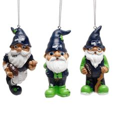 Seattle Seahawks Resin Gnome 3-Pack Ornament Set