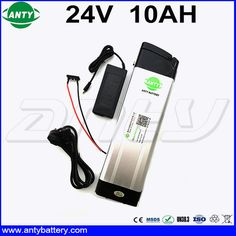 Silver Fish eBike Battery 24V 10Ah for 350w Electric Bicycle Lithium ion Battery Built in 15A BMS with 2A Charger Free Shipping