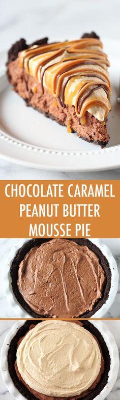 chocolate caramel peanut butter mousse pie