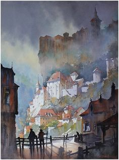 """towers of rocamadour"" thomas w schaller. Watercolor 30x22 inches"